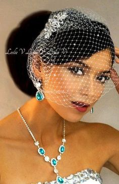 $26.99 Pearl Crystal Barrette & IVORY Bridal Birdcage Veil with Crystals 27-70992