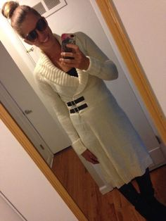 Moda International Cream Long Sweater Wrap/Dress Size Small #ModaInternational #WrapSwing