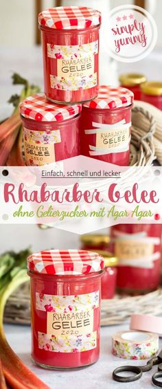 Rhabarber Gelee ohne Gelierzucker mit Agar Agar - Ina Isst There is finally the first on th Healthy Dessert Recipes, Dog Food Recipes, Desserts, Rhubarb Jelly, Recipe Card Boxes, Agar Agar, Recipe Organization, Vegetable Drinks, Healthy Eating Tips