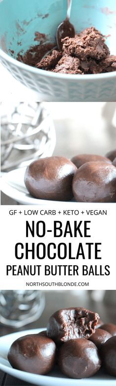 Indulge in these chocolate peanut butter balls while they're low in calories, dairy-free, gluten-free, and vegan. They are also high in protein! Refined Sugar Free | Low Carb Desserts | Keto Dessert | Chocolate Peanut Butter | Naturally Sweetened | Vegan Desserts | Ketogenic | Weight Loss | Snacks | Snack Recipe | Chocolate Recipe | Healthy Desserts |