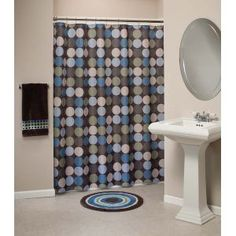 Geometric blue brown fabric shower curtain decorating - Brown and light blue curtains ...