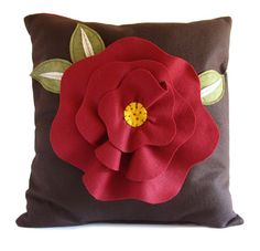 Brown with Red Poppy Felt Pillow