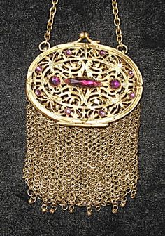 Antique Edwardian Jeweled Ring Mesh Coin Purse