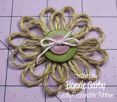 Bonnie from Really Reasonable Ribbon here today with a tutorial for an easy Jute Loopy Flower embellishment. Twine Flowers, Zipper Flowers, Fabric Flowers, Twine Crafts, Yarn Crafts, Paper Flower Decor, Flower Crafts, Diy Ribbon, Ribbon Rose