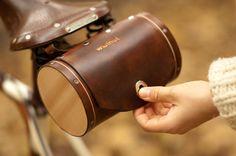 leather and cedar barrel bag