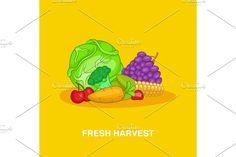 Vegetable Design, Yellow Background, Cartoon Styles, Harvest, Concept, Fresh, Illustration, Illustrations