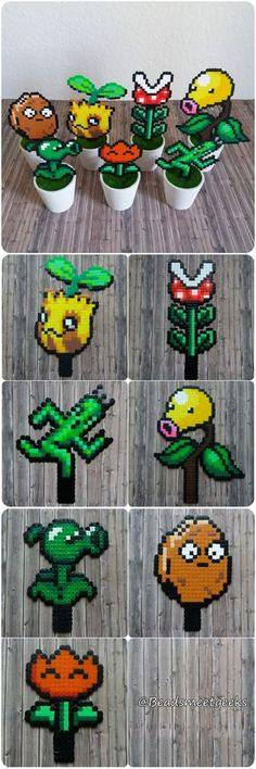 Pokémon Sunkern Bellsprout, Final Fantasy Cactuar, Super Mario, PvZ Plants - Perler Beads - Beadsmeetgeeks