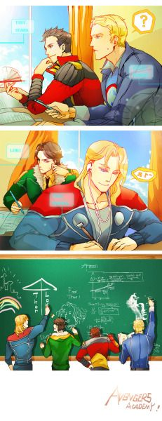 avengers academy | Tumblr - Not a Thorki fan, but the panels look nice, so eh. : P