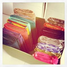 scarf organization - folding over a piece of cardboard or heavy card stock paper.