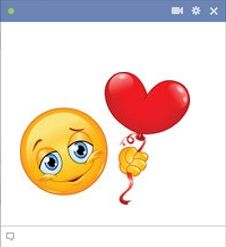 Smiley holding emoticon palloncino cuore
