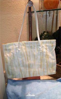 New Auth $1200 Carlos Falchi Ivory Gold Python Tote Shoulderbag Handbag Purse | eBay