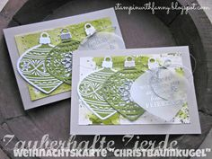 stampin up stampinwithfanny christmas card weihnachtskarte christbaumkugel zauberhafte zierde am christbaum delicate ornament embellished ornamtents embossing aquarelltechnik #stampinwithfanny