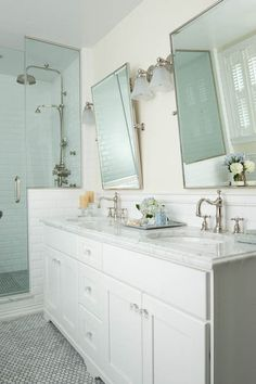White Double Vanity with Marble Countertops, Traditional, bathroom, Mahogany Builders Mosaic Bathroom, Bathroom Sconces, Glass Bathroom, Master Bathroom, Glass Shower, Rain Shower, Shower Door, Bathroom Mirrors, Bathroom Lighting