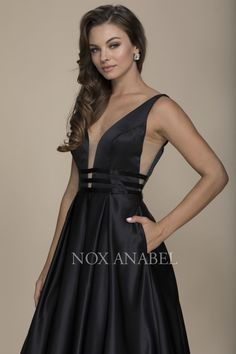 Nox Anabel Prom Elegant Thick Strap V-Neck V-Back Full-Length Flow Prom  Dress With Accent Three Stripe Ribbon Detail On Waistline 988f39b3e086