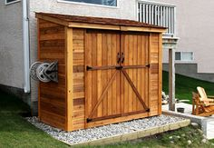 W x 4 ft. D Solid Wood Lean-To Tool Shed Outdoor Living Today SpaceSaver 8 Fuß B x 4 Fuß T Massivholz-Geräteschuppen Backyard Sheds, Outdoor Sheds, Backyard Storage Sheds, Garden Sheds, Cedar Garden, Man Cave Garden Shed, Man Cave Shed, Garden Hose, Contemporary Sheds