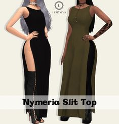Nymeria Split Top by Lumy Sims for The Sims 4