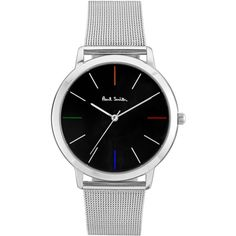 PAUL SMITH LONDON Ma Mesh Watch (£200) ❤ liked on Polyvore featuring jewelry, watches, colorful jewelry, quartz movement watches, colorful watches, paul smith and geometric jewelry