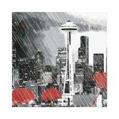 Seattle Cityscape Art Red Umbrellas