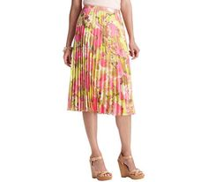 Floral Print Pleated Mid Length Skirt