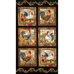 """Timeless Treasures French Country Rooster Panel Black from @fabricdotcom  Designed by Dona Gelsinger for Timeless Treasures, this cotton print fabric is perfect for quilting, apparel and home decor accents. This panel measures 35"""" x 44"""" and each patch measures approximately 10.5"""" x 10.5"""". Colors include black, cream, tan, grey, red, orange, yellow, and various shades of red and green."""