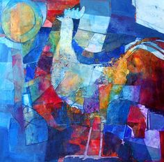 Sharon Blair: Morning Sunshine  www.sharonblair.com.au     - Art For Inspired Interiors           -  Mixed Media Artwork: Abstract Rooster