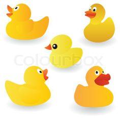 Grafiken von 'Vektor- Satz von gelben Gummi-Ente auf dem weißen Hintergrund'
