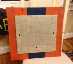 Pallet and burlap frame.
