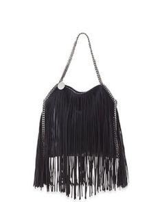 4893ddd3bbc3 L0JVE Stella McCartney Mini Falabella Fringe-Trimmed Tote Bag Suede Tote Bag