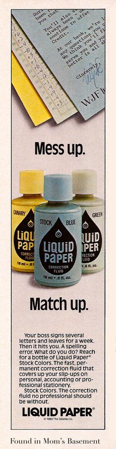 Liquid Paper in colors - for those days back when every important form came attached to colored carbon copies