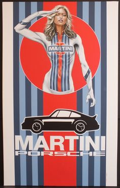 Martini Racing Girl Canvas Acrylic Painting - Cars World Porsche Classic, Classic Cars, Auto Poster, Car Posters, Porsche Cars, Porsche 356, Vintage Racing, Vintage Cars, Auto Illustration