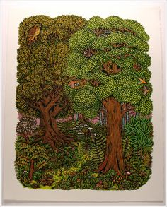 Forest Woodcut Print by Tugboat Printsthop
