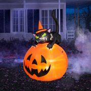 6' Tall Airblown Inflatable Halloween Cat Over Jack-o-Lantern