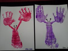 Fun and easy summer kids craft. Hands/feet lobsters.
