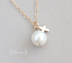 Tiny Gold Cross Necklace with Pearl 14K Gold Filled Etsy, $23.00