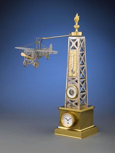 Rare French Automaton Industrial Airplane Timepiece