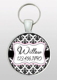 Pet I.D. Tag - Dog ID Tag - Vintage Damask - Formal Wedding Dog Tag - Gifts for Dogs - Gifts Under 10 - Dog Tag  - Design No. 221