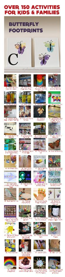 {100+ Weekend Activities for Kids & Families} How cute are these butterfly footprints? Check it out: http://letslassothemoon.com/2012/05/17/kids-co-op-butterfly-footprints/
