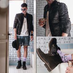 Zara Jacket, Hanes T Shirt, H&M Shorts, Dr. Scholl's Boots, Richer Poorer Socks, Rag & Bone Hat, Wild Soul Sunglasses
