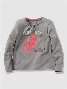 Girl's Long-Sleeved T-shirt GREY DARK SOLID WITH DESIGN - vertbaudet enfant