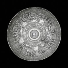 Silver libation bowl (phiale) with 5 quadrighe driven by winged Nikes - on the chariots: Athena, Hares, Hermes, Dionysos and Herakles - Magna Grecia (ca 300 a. Where To Buy Silver, Sterling Silver Bead Bracelet, Bronze Mirror, Italian Art, Ancient Artifacts, Ancient Romans, Ancient Greece, British Museum, Archaeology