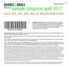 Barnes and Noble coupons april 2017