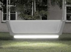 Hanging Glowing Bench for Modern Outdoor Areas Wooden Decor, Wooden Furniture, Bench Designs, Unique Gardens, Outdoor Areas, Modern Design, Glow, Interior Design, Stylish