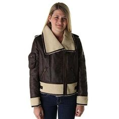 Members Only Womens Faux Fur Collar Motorcycle Jacket Brown M *** Click image to review more details.