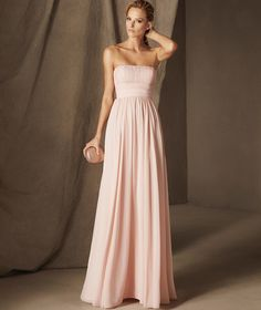 CLAIRE - Pronovias long party dress with a strapless neckline