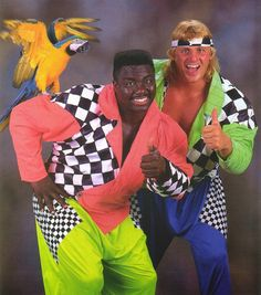 WWF Koko B Ware and Owen Hart wearing the clothes you will ever see in your life. Moda 80s, Michael Jackson, Kitsch, Madonna, Wrestling Costumes, Awkward Family Photos, Nostalgia, Glamour Shots, Professional Wrestling