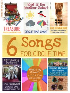 A collection of Circle Time Songs for preschoolers including songs about the weather, colours and shapes as well as musical guessing games and listening games. Circle Time Songs, Circle Time Activities, Music Activities, Music Games, Lets Play Music, Music For Kids, Kids Songs, Preschool Music, Preschool Classroom