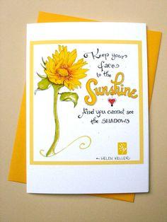 Sunshine Sunflower Card  Inspirational Quote by PattieJansen, $4.00