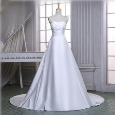 Chapel Train Satin Elegant A line Wedding Dresses 2016 Simple Modest Cheap White/Ivory Wedding Gowns