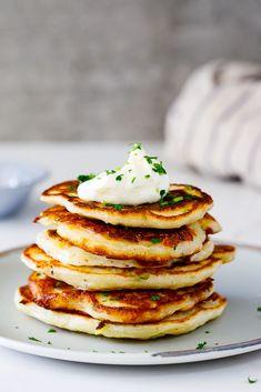 Irish Potato Pancakes - Simply Delicious - Irish potato pancakes with sour cream. Savoury Pancake Recipe, Savory Pancakes, Pancake Recipes, Irish Potatoes, Asian Desserts, Irish Desserts, Irish Recipes, Irish Meals, Yummy Appetizers