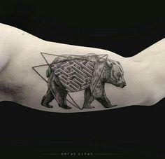 By Emrah Ozhan | Istambul | #Bear #BlackworkTattoo #Tattoo #Blackwork #Labirynth #Maze #Dotwork